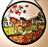 Decorative Hand Painted Stained Glass Window Sun Catcher/Roundel in an Autumn Ploughing Fields Country Scene Design.