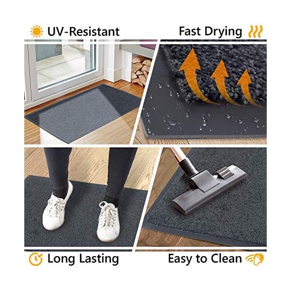 51NNfHqZVXL GadHome Fußmatte Schwarz Anthrazit 39x58 cm |Eingangstürmatte wasserdicht waschbar strapazierfähiger Schmutzfänger…