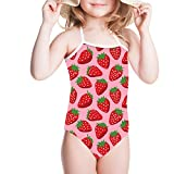 Sannovo Strawberry Swimsuit Baby Backless Bathing Suits For Toddler Girls 3T-4T