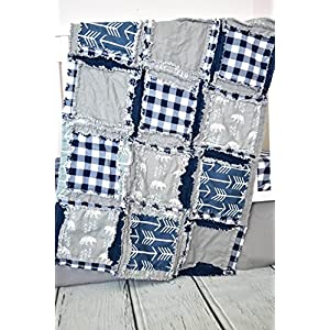 Image of Bear Blanket - Gray/Navy Blue Plaid - QUILT Only Home and Kitchen