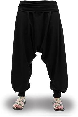 Pantalones Harem Negros Lisos Cagados Etnicos Yoga Thai Comodos Anchos Unisex Tallas Adulto Y Tallas Grandes 2xl Amazon Es Ropa Y Accesorios