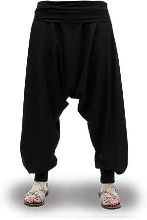 Pantalones Harem Negros Lisos Cagados Etnicos Yoga Thai Comodos Anchos Unisex Tallas Adulto y Tallas Grandes 2XL