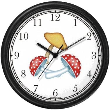 WatchBuddy Two Red Polka Dotted and One Tan Colored Mushrooms JP Wall Clock Timepieces White Frame
