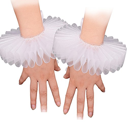 (GRACEART Elizabethan Wrist Ruffs Ruffled Cuff Clown Arm Bands 2 Pieces White)
