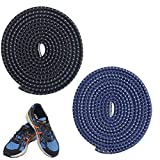 Komking No Tie Shoelaces, Tieless Shoelaces Stretch Shoelaces Trim to Fit Design Athletic Shoelaces for All Types Shoes (Black+Blue)