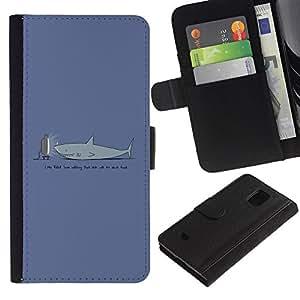 EJOY---Tirón de la caja Cartera de cuero con ranuras para tarjetas / Samsung Galaxy S5 Mini, SM-G800 / --TV Divertido Tiburón