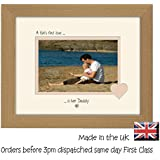 A Girls First Love is her Daddy Personalised Double Mounted Landscape 9 x 7 Photo Frame (Oak Finish Frame Cream Mount Beige Inside) by Photos in a Word