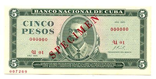 1970 No Mint Mark 5 PESOS CUBA 5 Seller Uncirculated