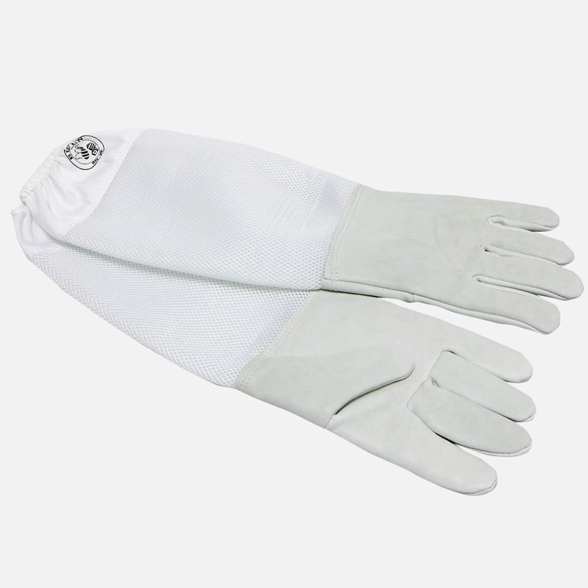 Beekeeping Leather Gloves - Beefun Goatskin Bee Gloves Canvas Protective Equipment with Vented Long Sleeves, White (L)