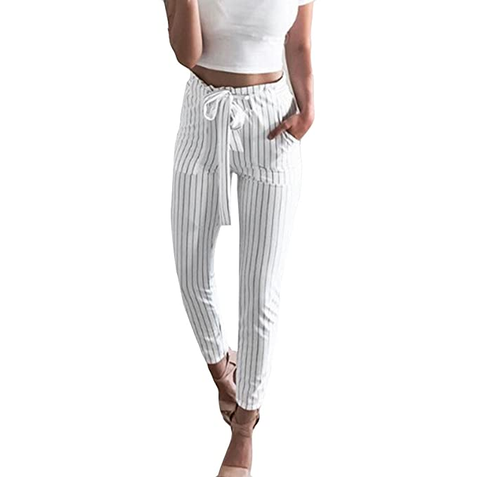 b4db23ed43164d Topgrowth Pantaloni Eleganti Donna A Vita Alta Pantaloni con Stampa a Righe  Primavera Casual Leggings Bianchi: Amazon.it: Abbigliamento