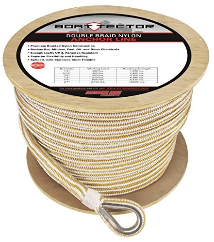 Extreme Max 3006.2285 BoatTector Premium Double Braid Nylon Anchor Line with Thimble, 3/4-Inch x 300-Feet, White/Gold