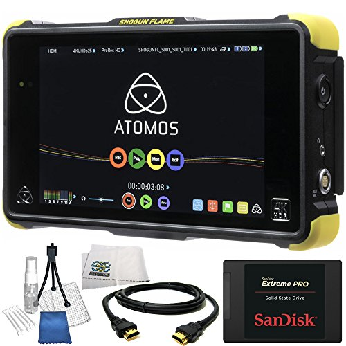 "Atomos Shogun Flame 7"" 4K HDMI/12-SDI Recording Monitor 14PC Accessory Kit. Includes SanDisk 480GB Extreme Pro Solid State Drive, HDMI Cable, Deluxe Camera Starter Kit, Microfiber Cleaning Cloth from SSE"