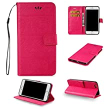 iPhone 6 Cute Elephant Pattern Case,[Stand Feature] [2 Card Slots] [Money Pocket] Synthetic Leather 4.7inch iPhone 6 Wallet Case with Screen Protector And Stylus Pen (Rose)