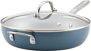 Ayesha Curry Home Collection Porcelain Enamel Nonstick Covered Deep Skillet With Helper Handle, 12 Inch Frying Pan with Glass Lid, Twilight Teal