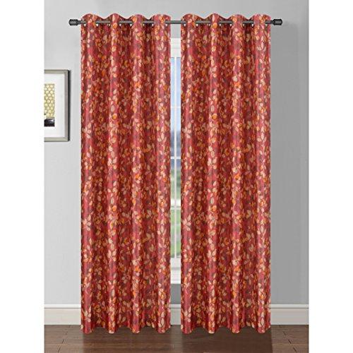 Bella Luna Pinehurst Printed Faux Silk Room Darkening Extra Wide 54 x 84 in. Grommet Curtain Panel, Chili Red