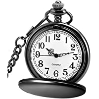 LYMFHCH Classic Smooth Vintage Quartz Pocket Watch, Roman Numerals Scale Mens Womens Watch with Chain (Black)