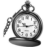 LYMFHCH Classic Smooth Vintage Quartz Pocket Watch, Arabic Numerals Scale Mens Womens Watch with Chain (Black)