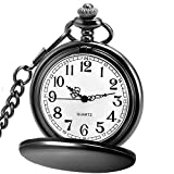 LYMFHCH Classic Smooth and Spider Web Hollow Vintage Quartz Pocket Watch, Arabic Numerals Scale Mens Womens Watch with Chain Xmas Fathers Day Gift