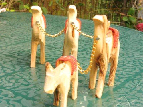 Carved Camel Train Olive Wood Bethlehem Holy Land - Caravan Set 3 Camels with Donkey