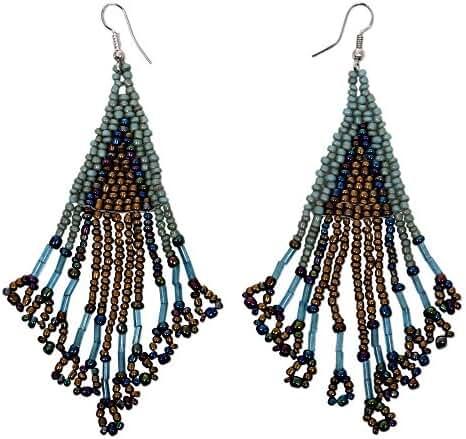NOVICA Glass Bead Stainless Steel Beaded Hook Earrings 'Mermaid Queen'