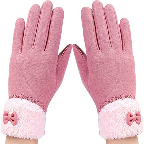 AMAZING AMAZING Womens Touch Screen Gloves Winter Fashion Bow Ladies Lace Splice Warm Gloves Mittens Cashmere Female Wrist Guantes Gift 16A