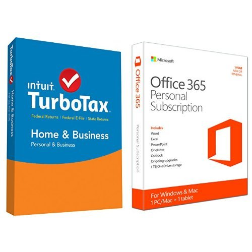 TurboTax Home & Business 2015 Federal + State Taxes + Fed Efile Tax Preparation Software - PC/Mac Disc with Microsoft Office 365 Personal 1 Year | PC or Mac Key Card