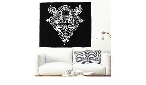 Alfombra de pared vikinga, dragón, tatuaje, casco celta, círculo ...