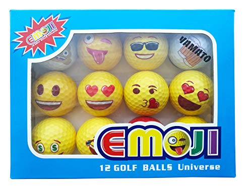 yamato Premium Emoji Golf Balls, 12 Pack Dual-Layer Novelty Professional Practice Golf Balls, Novelty Gift for All -