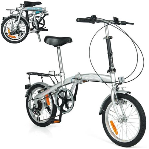 BARGAINS-GALORE/® HI-TEN STEEL 6 SPEED FOLDING BIKE 16 WHEEL WITH SHIMANO GEARS BICYCLE COMMUTER