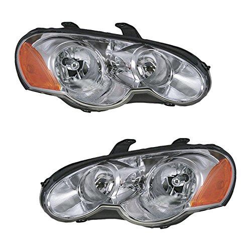 Headlights Headlamps Left & Right Pair Set for 03-05 Chrysler Sebring Coupe ()