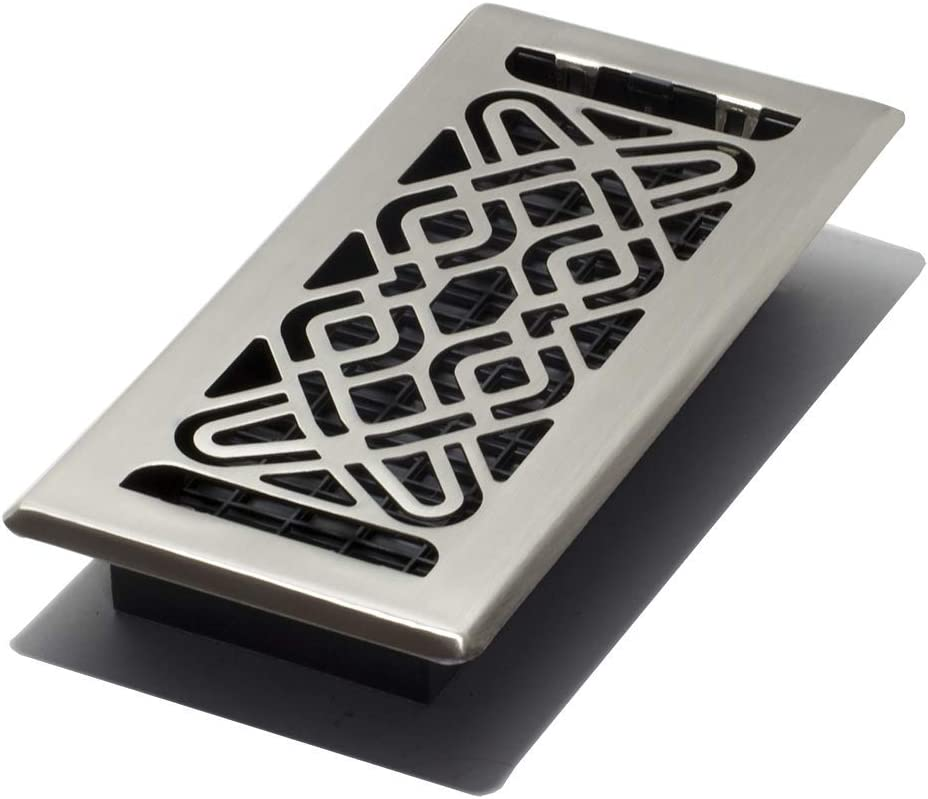 Decor Grates FUH410-NKL Fusion Plated Floor Register, 4-Inch by 10-Inch, Nickel