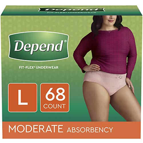 Depend FIT-FLEX Incontinence Underwear for Women, Disposable, Moderate Absorbency, L, Blush, 68 - Depend Super Absorbent