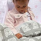 Living Textiles Muslin Jacquard Grey Owl Soft Baby