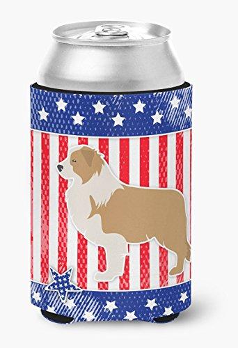 Caroline's Treasures USA Patriotic Red Border Collie Can or Bottle Hugger BB3322CC, Can Hugger, Multicolor