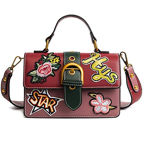 Bag Small Square Package Shoulder Width Embroidery Small Bag Work Dating Women Shoulder Bag Hq.adier, Black Red