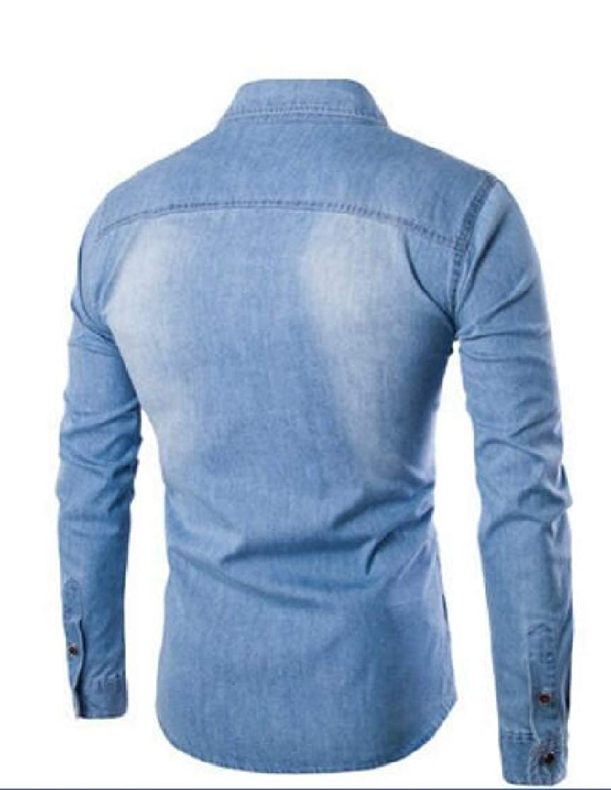 Joe Wenko Mens Lapel Long Sleeve Jean Button Front Washed Regular Fit Shirts