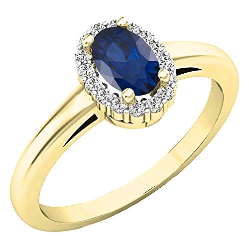 Dazzlingrock Collection 14K 6X4 MM Oval Blue Sapphire & Round Diamond Ladies Halo Engagement Ring, Yellow Gold, Size 6.5 ()