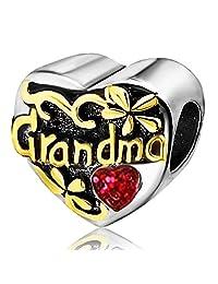 JMQJewelry Heart I Love You Grandma Birthstone Charms for Bracelets