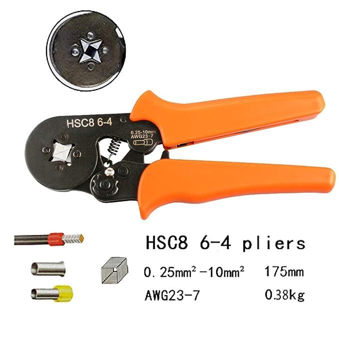 Pinza per piegatura dechengbao Utensile per crimpatura regolabile Utilizzato per terminali di estremit/à cavo 0,25-10mm2 Utensile per crimpatura puntale AWG 23-7 crimpatura puntalino