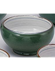 Deep Green 7 1inch Set Of 5 Ramen Bowls White Porcelain Made In Japan