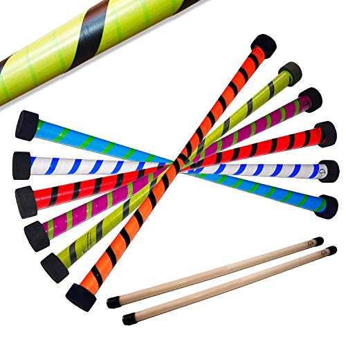 TWIST Devil Stick Set with FREE Wooden Control Hand Sticks! (Blue/Green)
