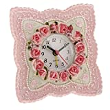 Homyl Country Style Pink Rose Flower Home Decoration Table Desk Clock Resin Alarm Clock Wedding Birthday Gift