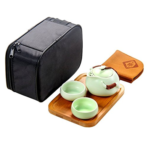 Tea Talent Chinese & Japanese Portable Travel Kungfu Tea Set - Porcelain Teapot & Teacups & Bamboo Tea Tray & Tea Towel with Handbag, - Chooser Glasses
