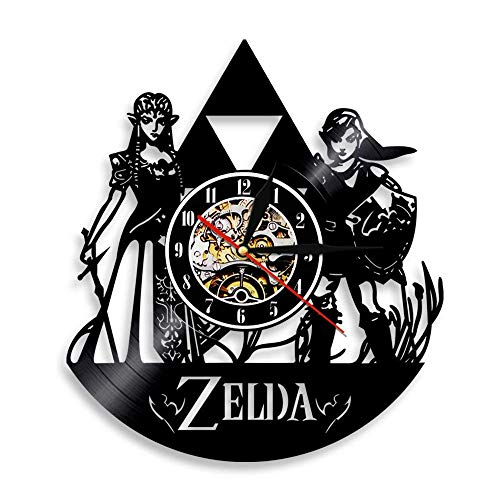 Vinyl Record Wall Clock Handmade Ultra Silent Decor Home Legend of Zelda 6 Decorative – 3D Design Wall Mounted Clock for Living Room Bedroom
