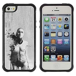 Fuerte Suave TPU GEL Caso Carcasa de Protección Funda para Apple Iphone 5 / 5S / Business Style Woman Art Bald Black White