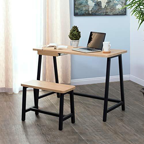Set Wide Workstation (Calico Designs 51239 Homeroom Art Drawing Kids Desk & Bench Set, Ashwood/Graphite)