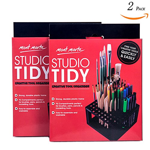 Mont Marte Studio Tidy 2 Pack. 96 Hole Plastic Pencil & Brush Holder for Paint Brushes, Pencils, Markers, Pens and Modeling Tools. Provides Excellent Art Studio Organization. by Mont Marte