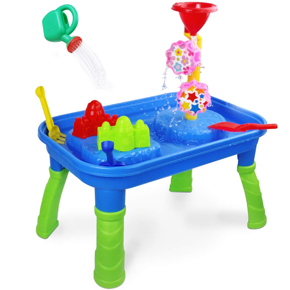 Water Table Sand Table 2 in 1 Sand Tray Box Water Toys with Molds Shovel Rake Watering Can Activity Center Summer Beach Outdoor Toys Gift for Kids Toddlers Boys Girls