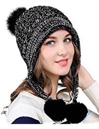 Women's Winter Cable Knitted Pom Pom Beanie Hat Earflap Caps