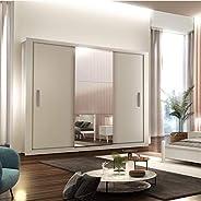 Guarda Roupa Casal 3 Espelhos 3 Portas de Correr 4 Gavetas Gênesis Siena Móveis Branco
